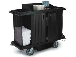 Rubbermaid housekeeping carts showing accessories