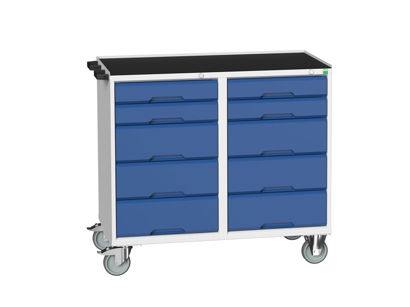 Blue Mobile Maintenance Trolley 10 Drawer Top Tray
