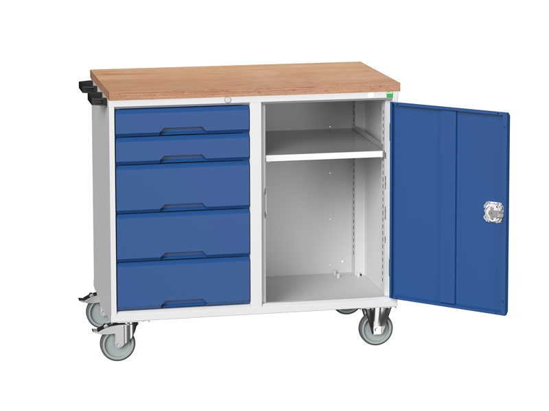 Blue Mobile Maintenance Trolley 5 Drawer MPX Worktop