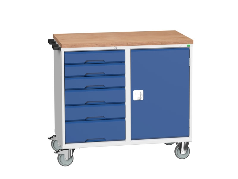 Blue Mobile 6-drawer Cabinet MPX Worktop