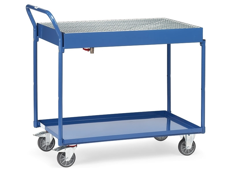 2 Shelf Workshop Trolley with Lattice Grille & Catch Tray