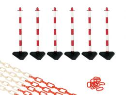 Concrete Base Red and White 6 Post Plastic Chain Kit