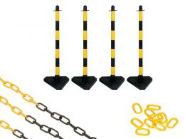 Concrete Base Yellow and Black 4 Post Plastic Chain Kit
