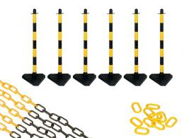 Concrete Base Yellow and Black 6 Post Plastic Chain Kit