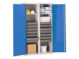 Double Door Workshop Cupboard with 14 Drawers and 2 Shelves
