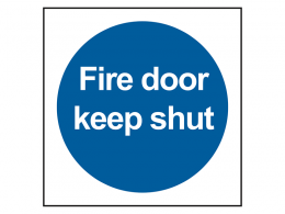 """Fire Door Keep Shut"" Mandatory Site Safety Sign"
