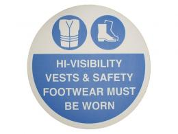 """Hi-Visibility Vests & Safety Footwear"" Floor Graphic Marker"