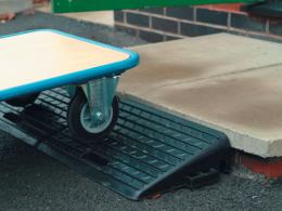 Rubber pavement car kerb ramps