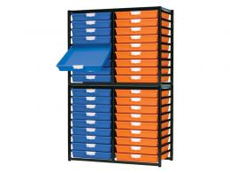 Metal Rack with 36 Plastic Drawers