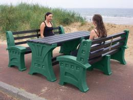 Picnic Table and Upright Bench