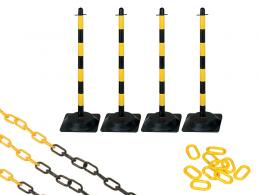 Rubber Base Yellow and Black 4 Post Plastic Chain Kit