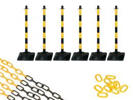 Rubber Base Yellow and Black 6 Post Plastic Chain Kit