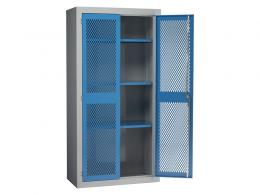 Steel Mesh Cabinet Double Door, 3 Shelves