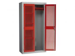 Steel Mesh Cabinet Double Door, 3 Shelves, Centre Divider