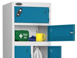 Metal storage locker available in a variety of different colours