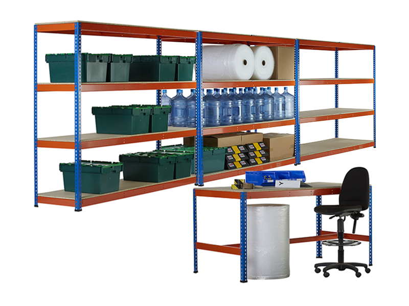 3 bays of shelving and workbench kit for 3 bays