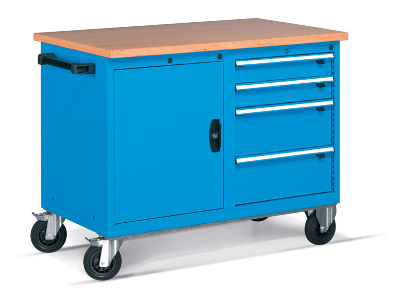 4 Mobile Drawer Cabinet with Cupboard - Tool Chests ...