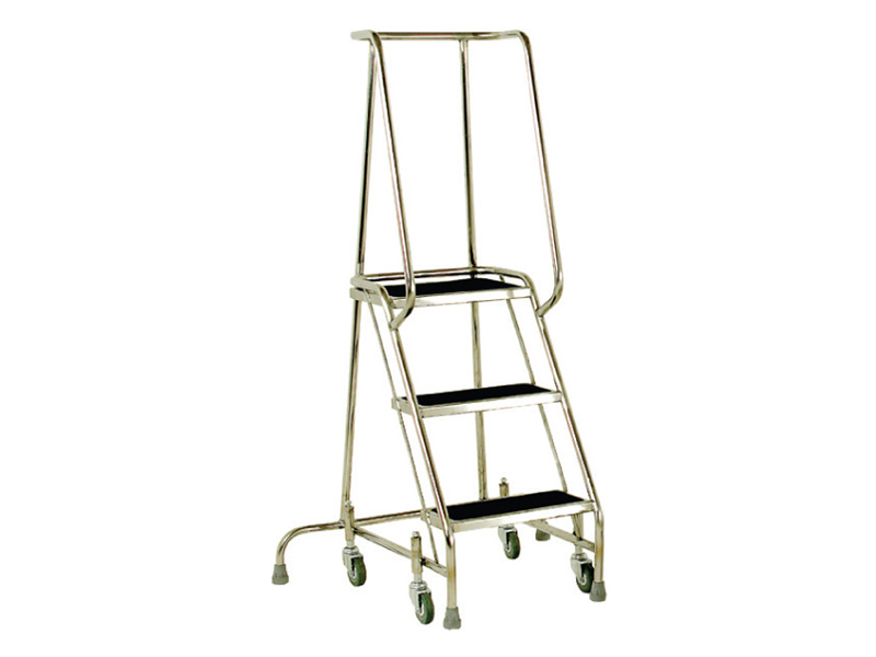 3 Tread Stainless Steel Mobile Steps