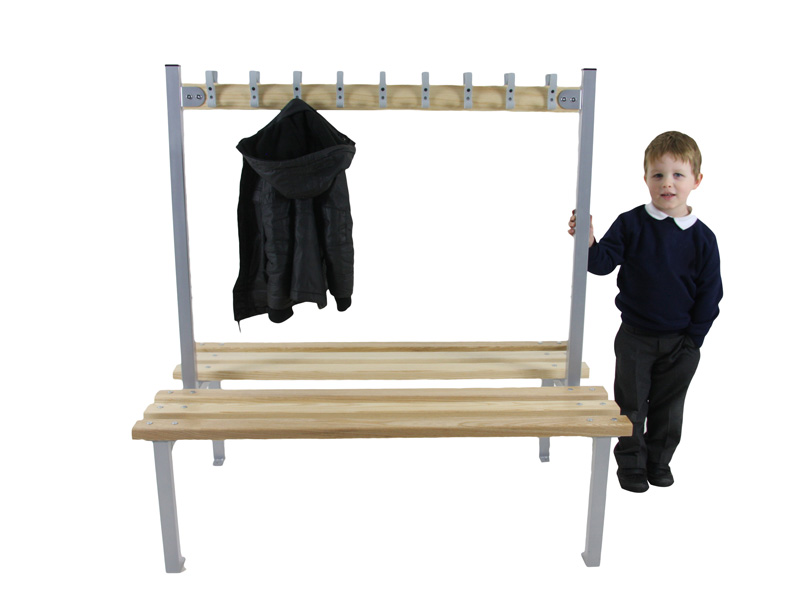 Double-sided changing room bench