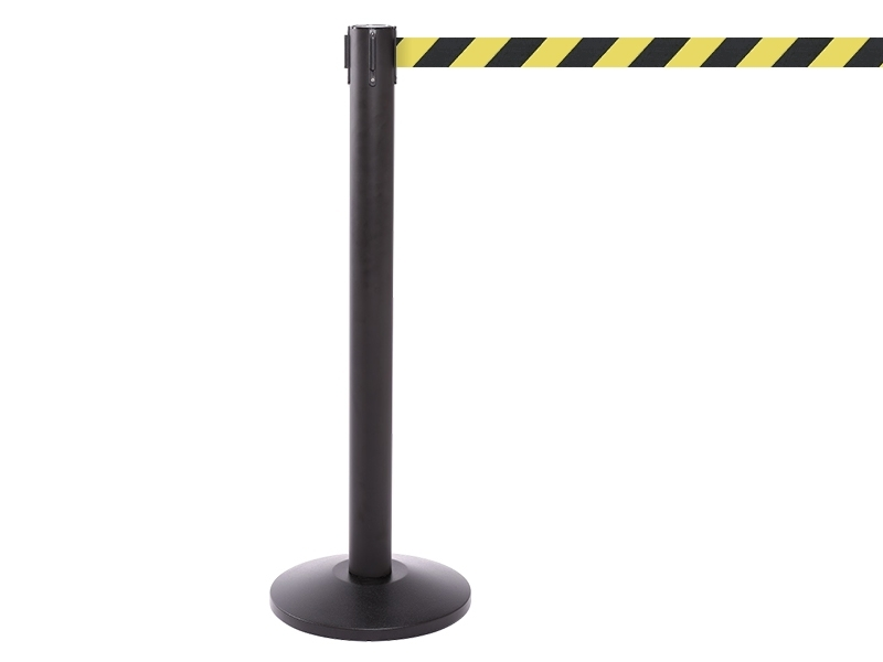 Black Retractable Chevron Belt Barrier
