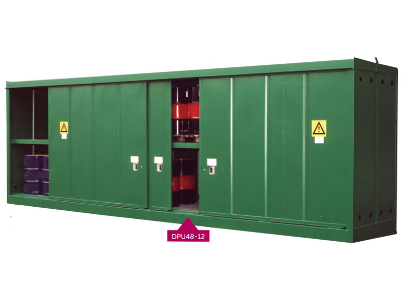 Fully enclosed, secure storage units for drums or IBCs