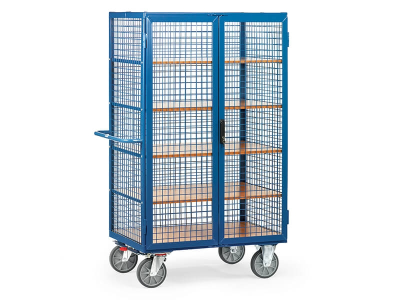 Heavy Duty Mesh Box Cart Lockable Doors 750kg