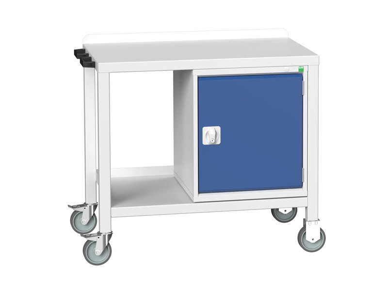 Heavy Duty Mobile Workbench, Steel Top, Cupboard