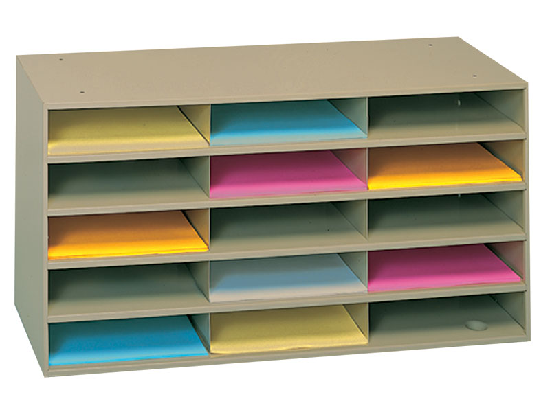 Tan finish horizontal literature rack