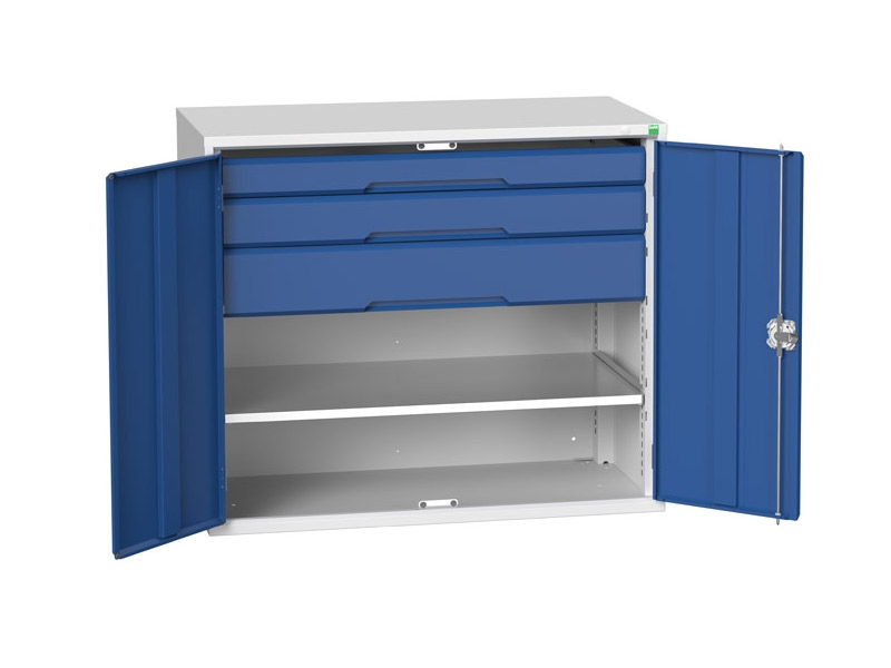 Kitted Workshop Cupboard with 1 Shelf, 3 Drawers