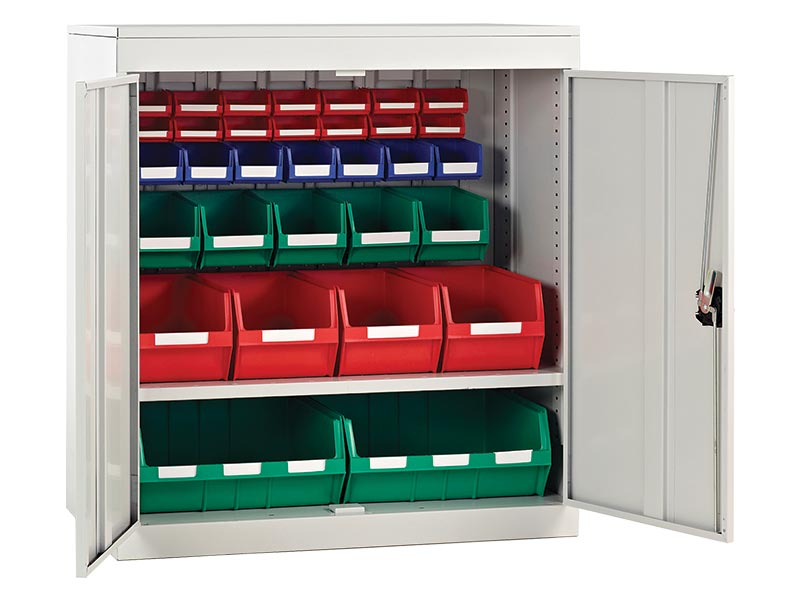 Half Height Louvred Panel Cupboards with Bins