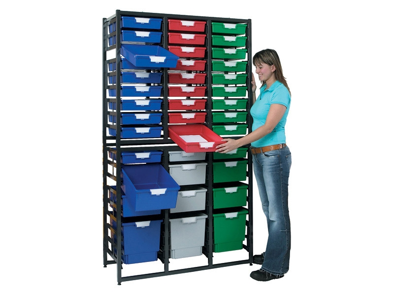Metal Rack with 54 Plastic Drawers