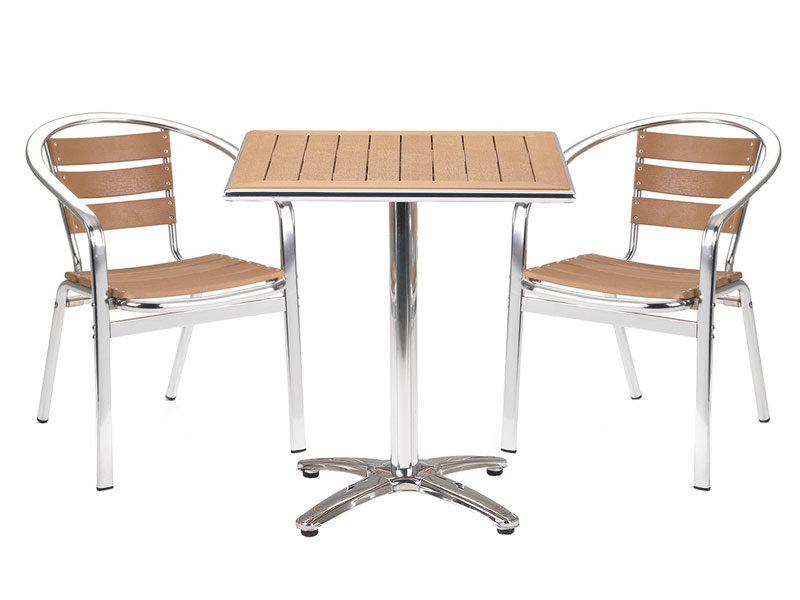Paulo Square Cafe Table with Two Chairs