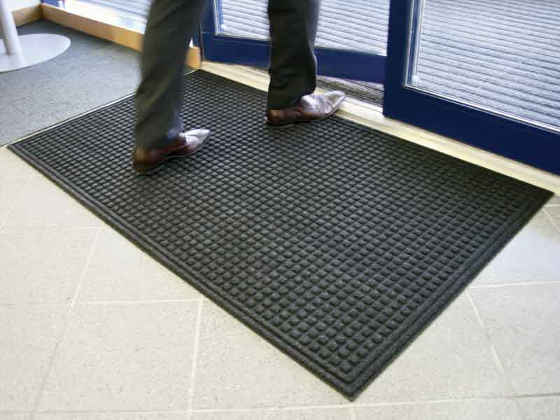 The Enviromat recycled floor mat in action