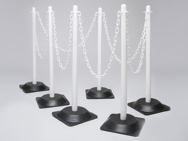 Rubber Base White 6 Post Plastic Chain Kit