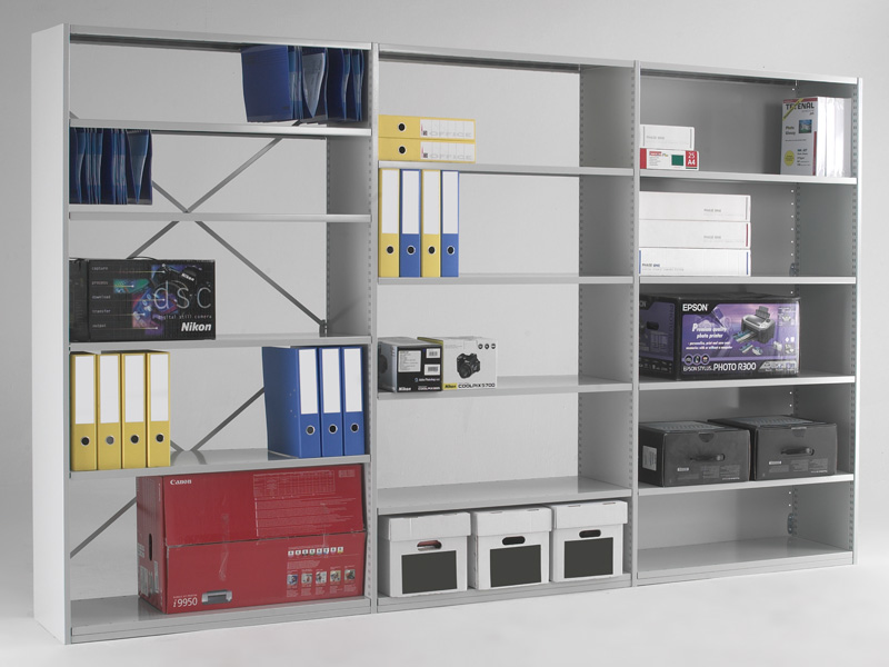 Clad back office shelving