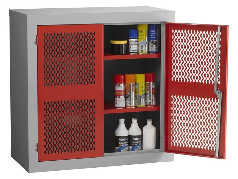 Steel Mesh Cabinet Double Door, 1 Shelf