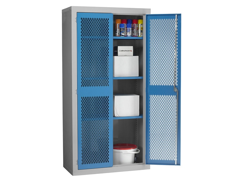 Buy Steel Mesh Cabinet Double Door, 3 Shelves | Free Delivery
