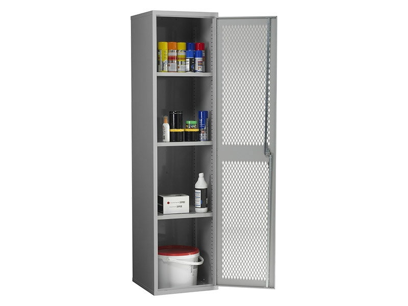Steel Mesh Cabinet Single Door, 3 Shelves