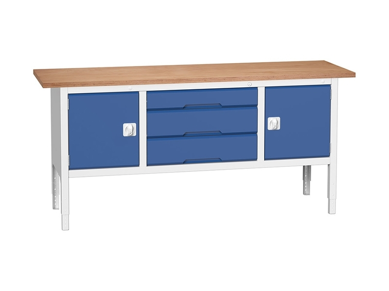 Storage Workbench, 2 Cupboards, 3 Wide Drawers