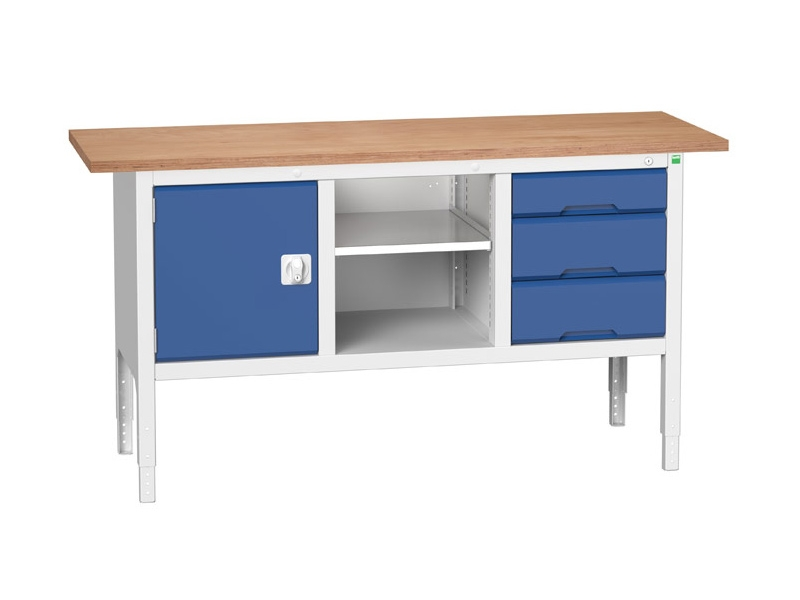 Storage Workbench, Cupboard, 3 Drawers, Open Section