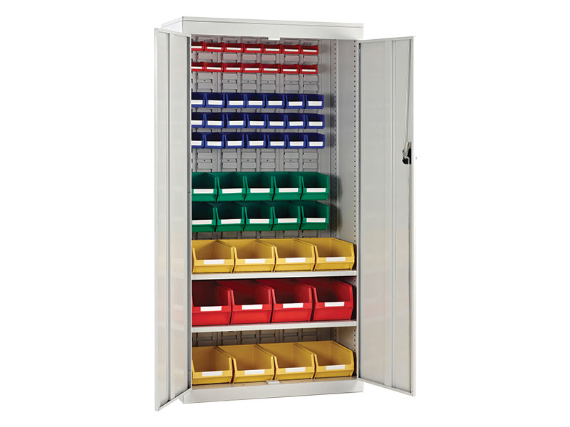 Tall Louvred Panel Cupboards with Bins