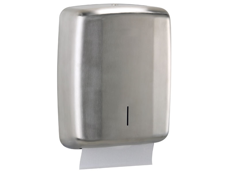 Restroom and toilet hand paper dispenser brushed steel