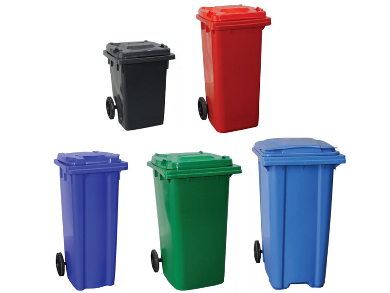 Wheelie Bins in grey, red, blue, green