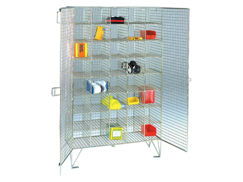 Buy Wire Mesh 40 Compartment Locker with Doors | Free Delivery