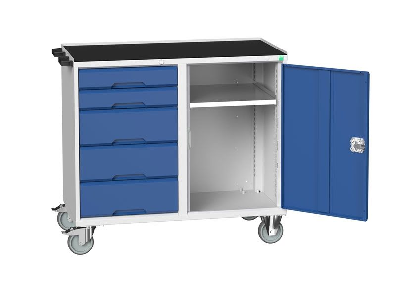 Blue Mobile Maintenance Trolley 5 Drawer Top Tray