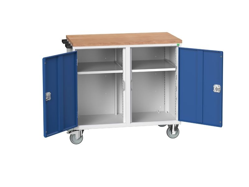 Blue Mobile Maintenance Trolley Double Door MPX Worktop