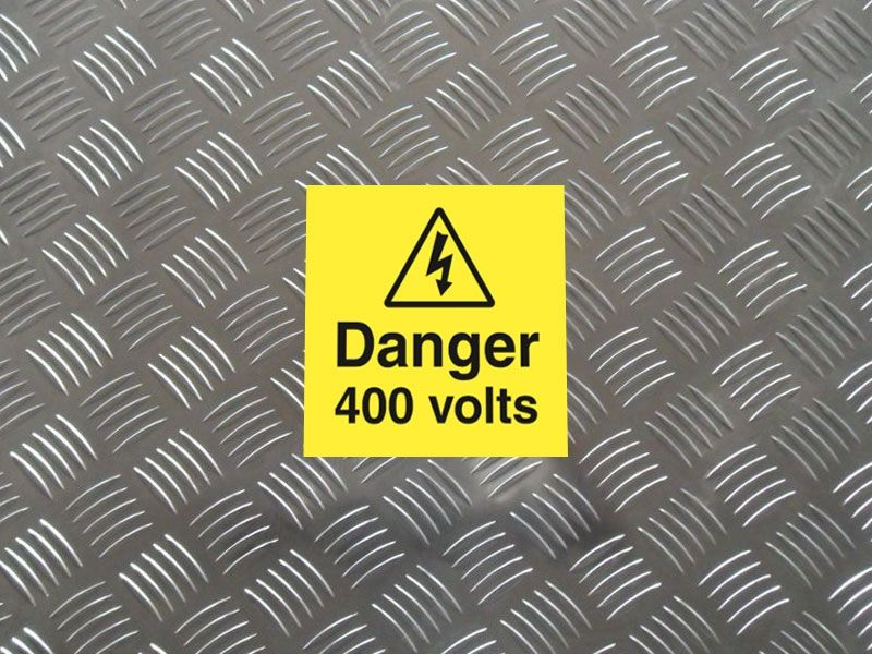 """Danger 400 Volts"" Labels on a Roll"