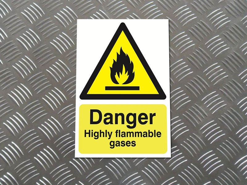 """Danger Highly Flammable Gases"" Warning Safety Sign"