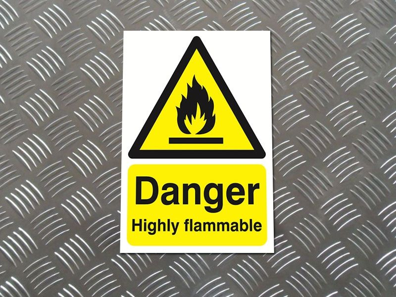 """Danger Highly Flammable"" Warning Safety Sign"