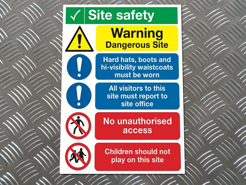 """Dangerous Site"" Construction Site Safety Board"